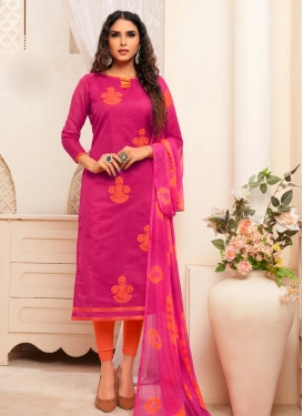 Orange and Rose Pink Embroidered Work Trendy Straight Suit