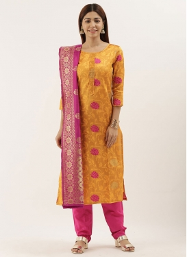 Orange and Rose Pink Jacquard Pant Style Classic Suit