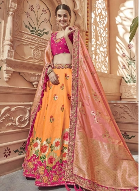 Orange and Rose Pink Jacquard Silk Trendy A Line Lehenga Choli