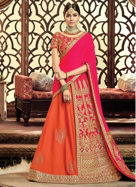 Orange and Rose Pink Lehenga Style Saree