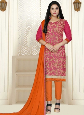 Orange and Rose Pink Pant Style Straight Salwar Suit For Casual