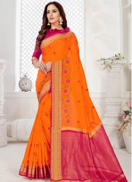 Orange and Rose Pink Traditional Designer Saree For Ceremonial