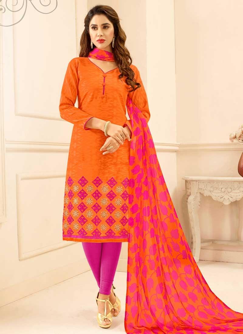 Orange and Rose Pink Trendy Churidar Salwar Kameez For Casual