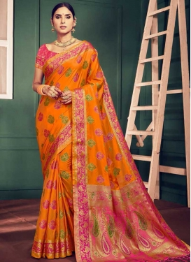 Orange and Rose Pink Trendy Classic Saree For Ceremonial