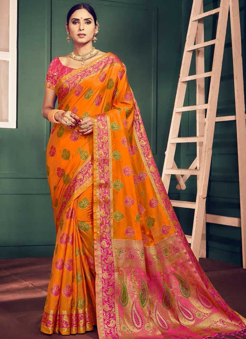 Orange and Rose Pink Trendy Classic Saree For Ceremonial