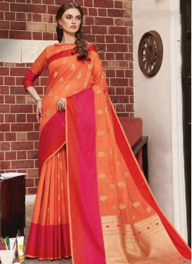 Orange and Rose Pink Trendy Classic Saree For Festival