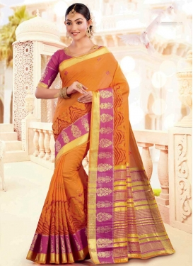 Orange and Rose Pink Woven Work Contemporary Style Saree