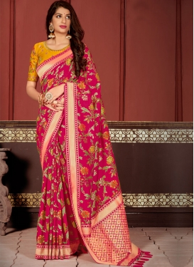 Orange and Rose Pink Woven Work Designer Contemporary Saree