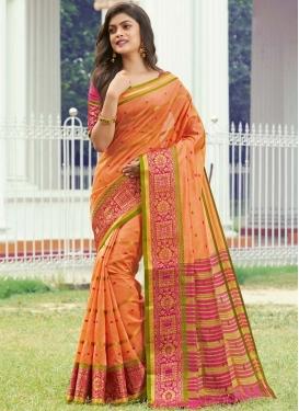 Orange and Rose Pink Woven Work Traditional Designer Saree