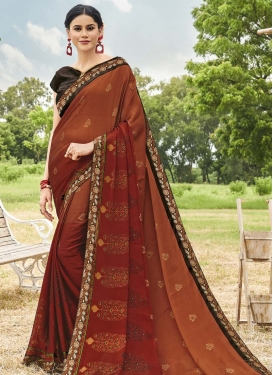 Orange and Rust Designer Contemporary Saree