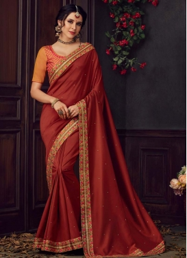 Orange and Rust Designer Contemporary Style Saree