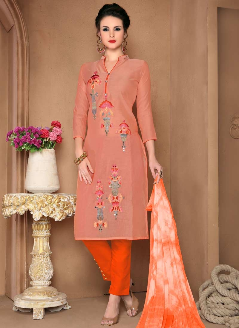 Orange and Salmon Cotton Pant Style Classic Suit For Ceremonial