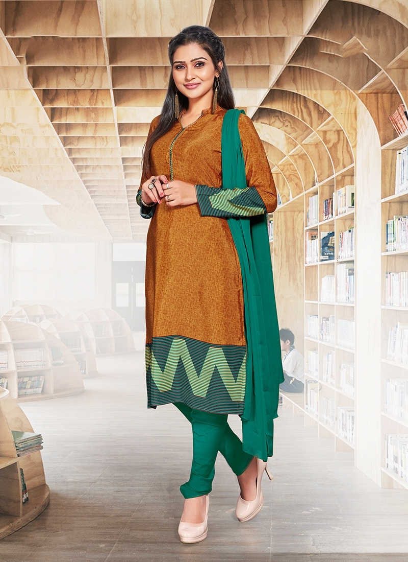 Orange And Sea Green Casual Churidar Suit