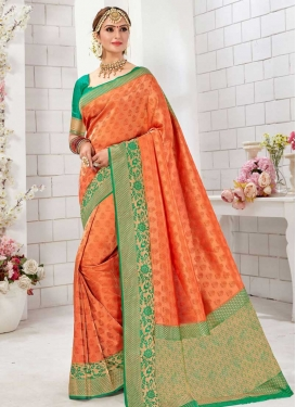 Orange and Sea Green Designer Contemporary Style Saree