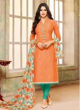 Orange and Sea Green Lace Work Trendy Churidar Salwar Kameez