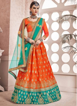 Orange and Teal Art Silk Trendy Lehenga Choli For Ceremonial