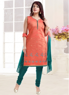 Orange and Teal Embroidered Work Readymade Churidar Salwar Suit