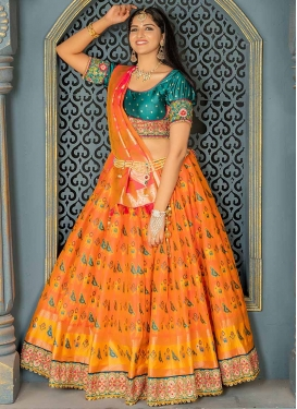 Orange and Teal Trendy Lehenga Choli For Festival