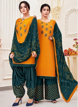 Orange and Teal Trendy Straight Salwar Kameez For Casual