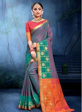 Orange and Teal Woven Work Traditional Designer Saree