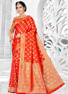 Orange and Tomato Banarasi Silk Traditional Saree