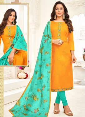 Orange and Turquoise Trendy Churidar Salwar Kameez