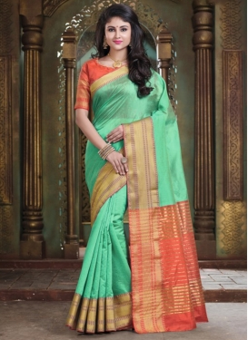 Orange and Turquoise Woven Work Traditional Saree