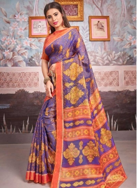Orange and Violet Brasso Designer Contemporary Saree