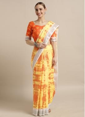 Orange and Yellow Designer Contemporary Style Saree