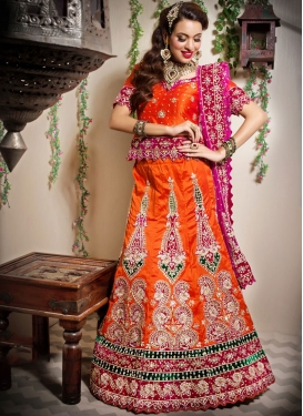 Orange Art Silk Bridal Designer Lehenga Choli