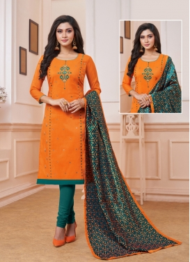 Orange Art Silk Ceremonial Churidar Suit