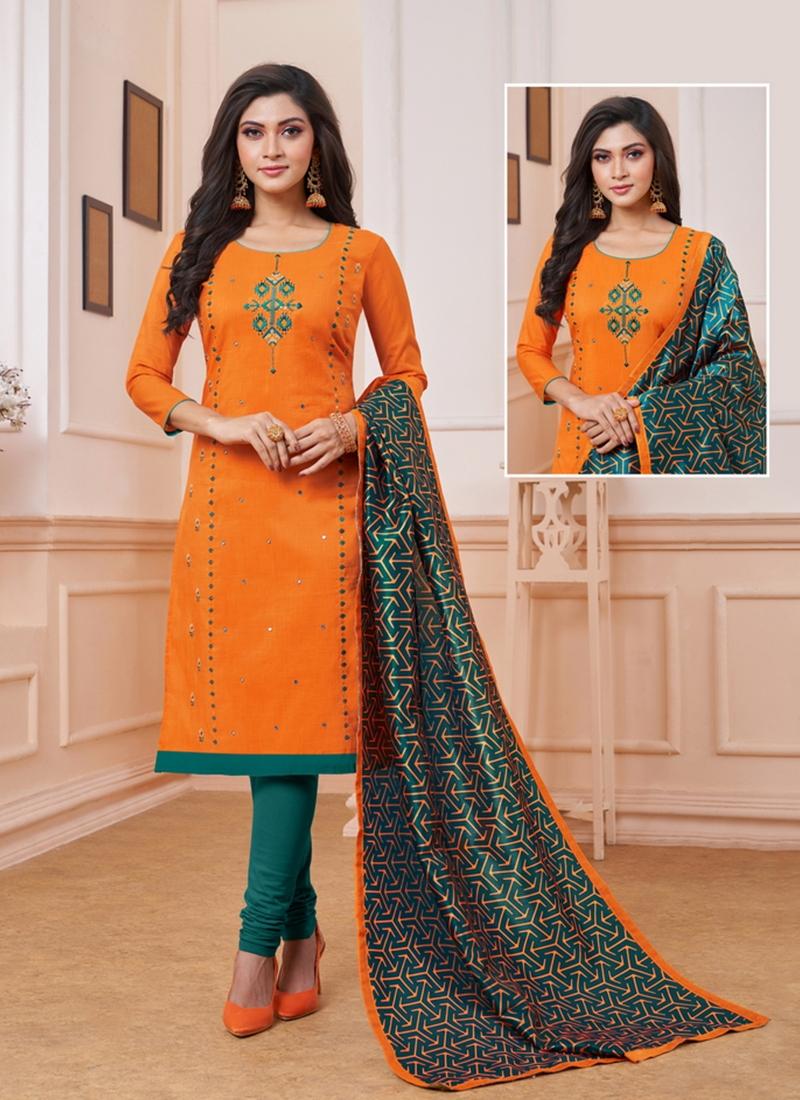 Orange Art Silk Ceremonial Churidar Suit
