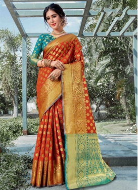 Orange Art Silk Ceremonial Designer Traditional Saree