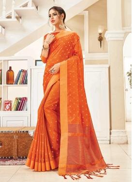Orange Art Silk Ceremonial Traditional Designer Saree