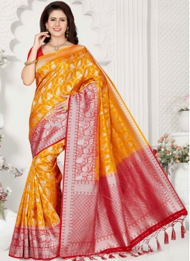 Orange Art Silk Ceremonial Traditional Saree
