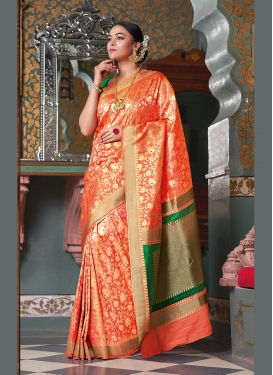 Orange Art Silk Designer Traditional Saree