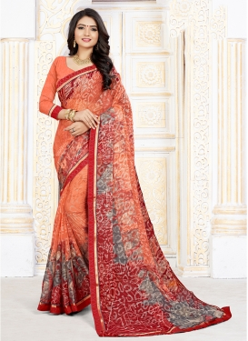 Orange Art Silk Party Printed Saree