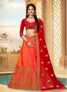 Orange Art Silk Trendy Lehenga Choli