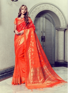 Orange Art Silk Trendy Saree