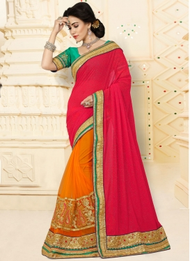 Orange Beads Work Half N Half Designer Saree