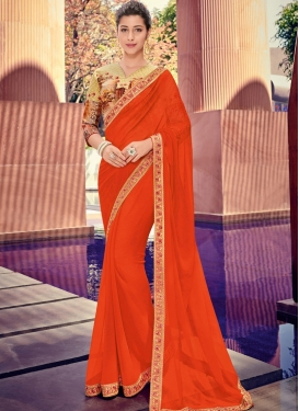 Orange Border Faux Chiffon Trendy Saree