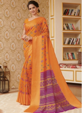 Orange Casual Linen Traditional Saree