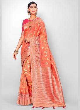Peach Color Designer Traditional Saree