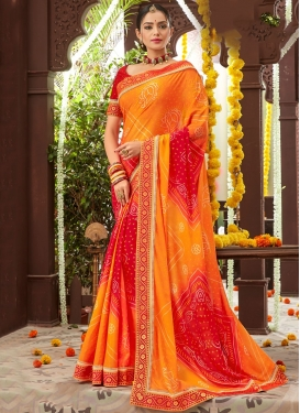 Orange Faux Chiffon Bandhej Print Classic Saree