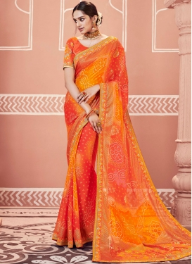 Orange Faux Georgette Embroidered Shaded Saree