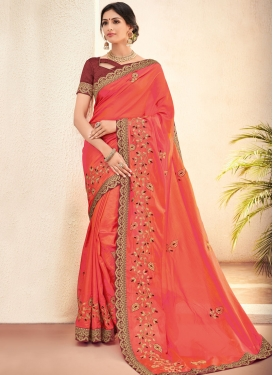 Orange Festival Art Silk Trendy Saree