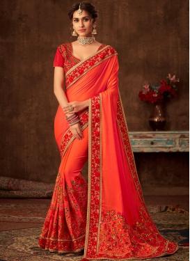 Orange Festival Poly Silk Designer Traditional Saree