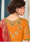 Orange Mehndi Jacquard Silk Lehenga Choli - 2