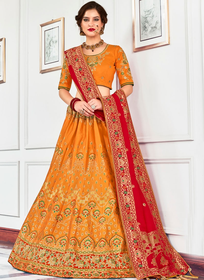 Orange Mehndi Jacquard Silk Lehenga Choli
