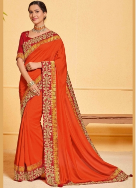 Orange Patch Border Poly Silk Designer Traditional Saree